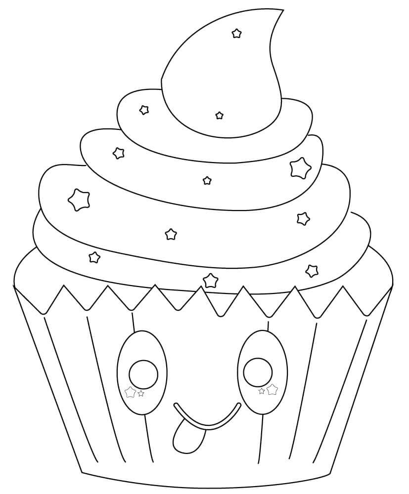 Desenhos de Cupcake Fofo Com Estrelas para colorir