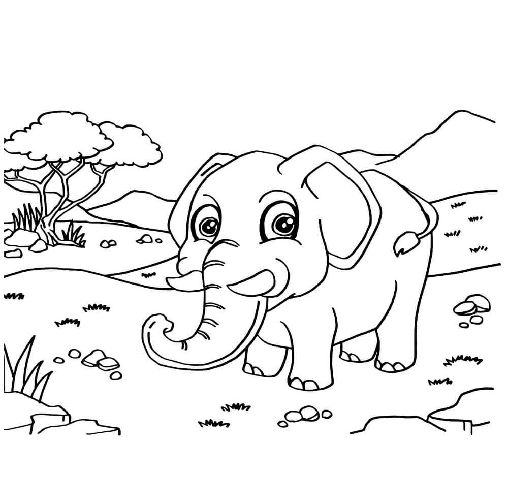 Desenhos de Elefante Caminhando Na Savana para colorir
