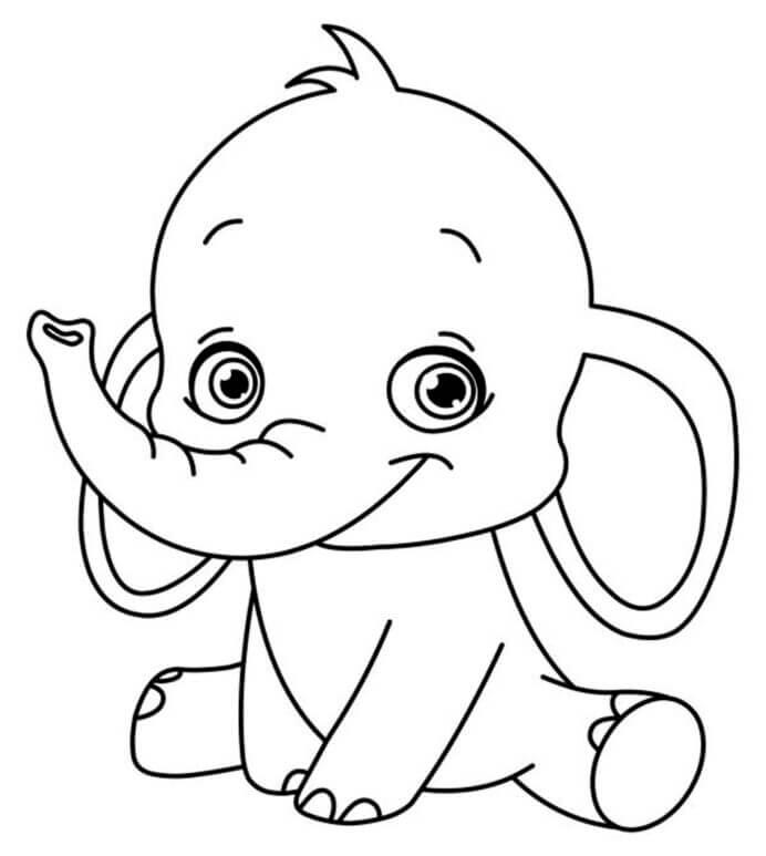 Desenhos de Elefante Chibi, Sentado para colorir