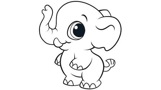 Desenhos de Elefante Chibi para colorir