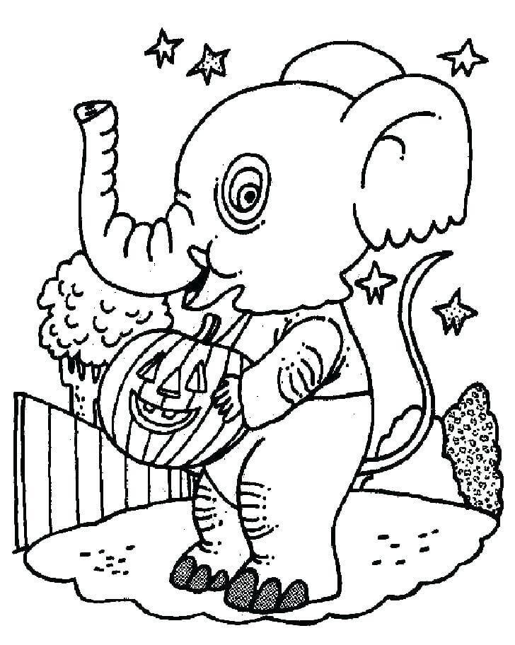Desenhos de Elefante Com Abóbora para colorir