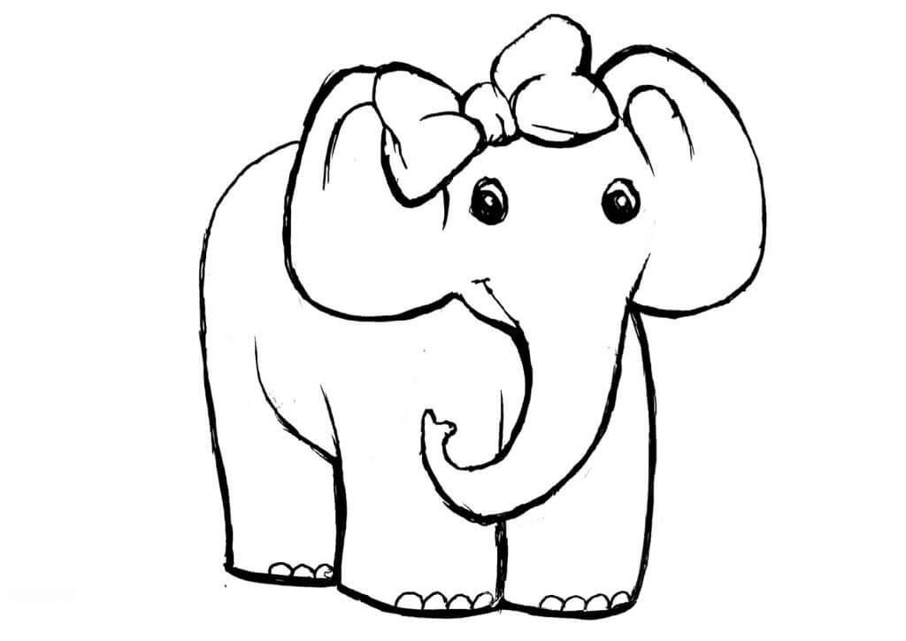 Desenhos de Elefante Fêmea para colorir