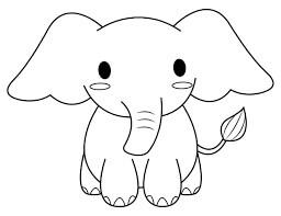 Desenhos de Elefante kawaii para colorir