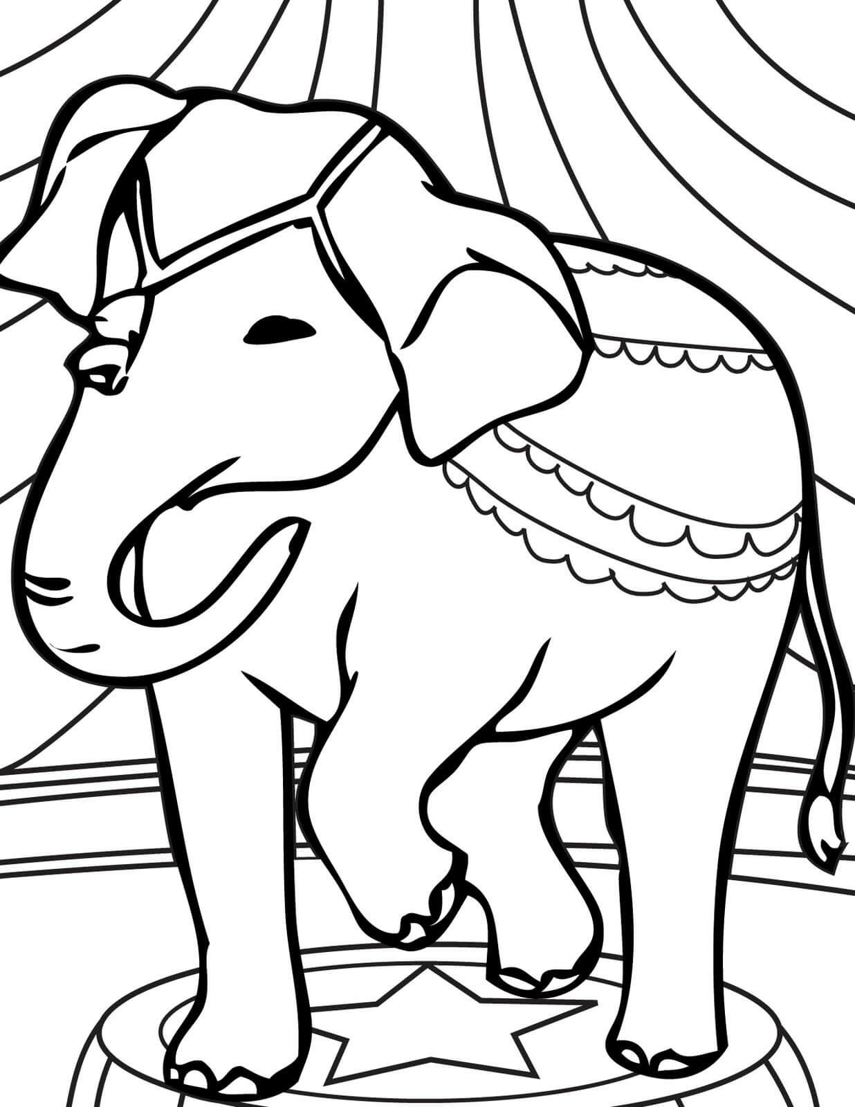 Desenhos de Elefante No Circo para colorir
