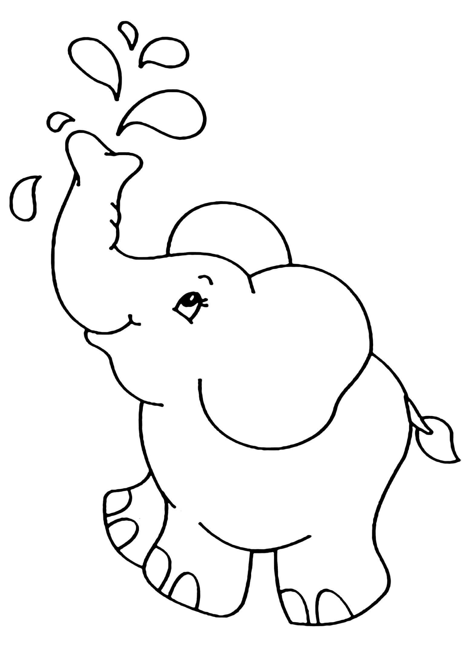 Desenhos de Elefante Simples para colorir