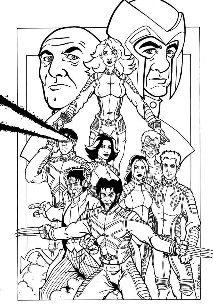 Desenhos de Equipe X-men para colorir