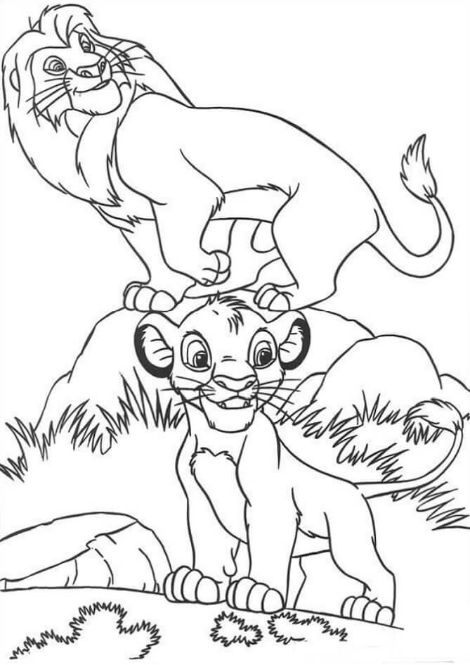 Desenhos de Feliz Mufasa E Simba para colorir