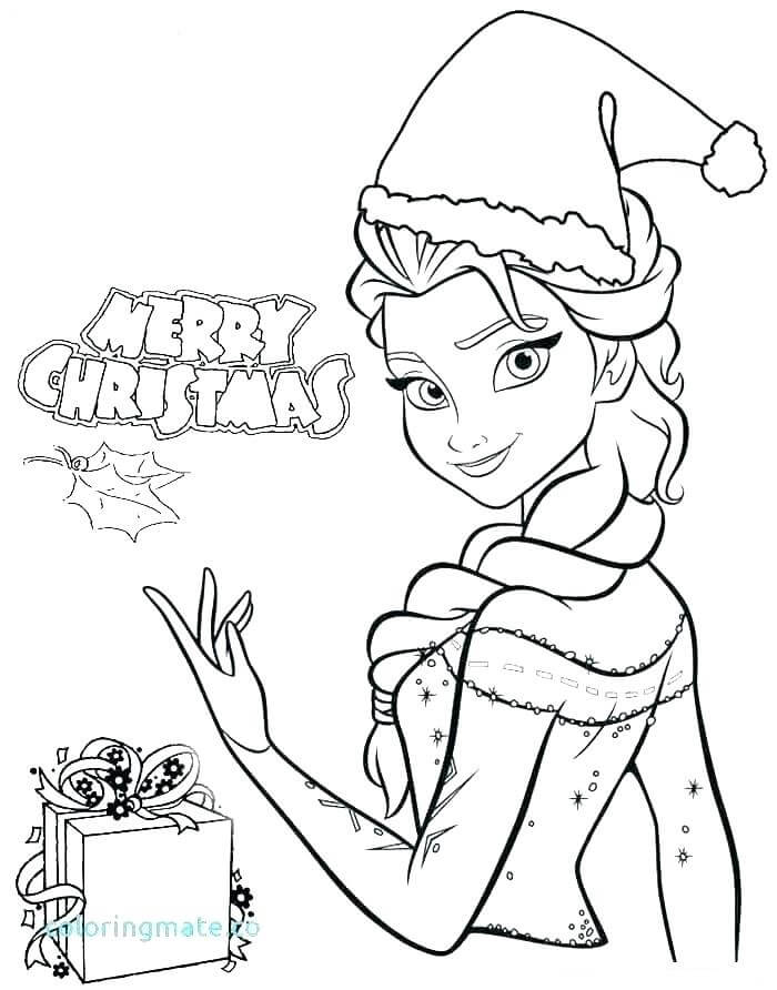 Desenhos de Feliz Natal Com Elsa para colorir