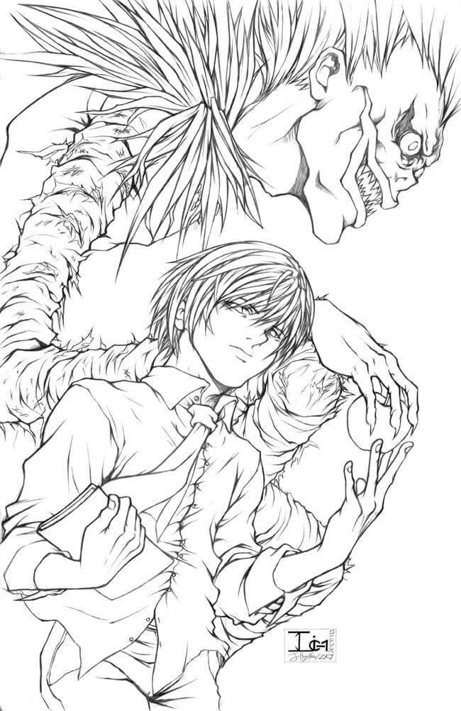 Desenhos de Kira E Ryuk Fresh para colorir