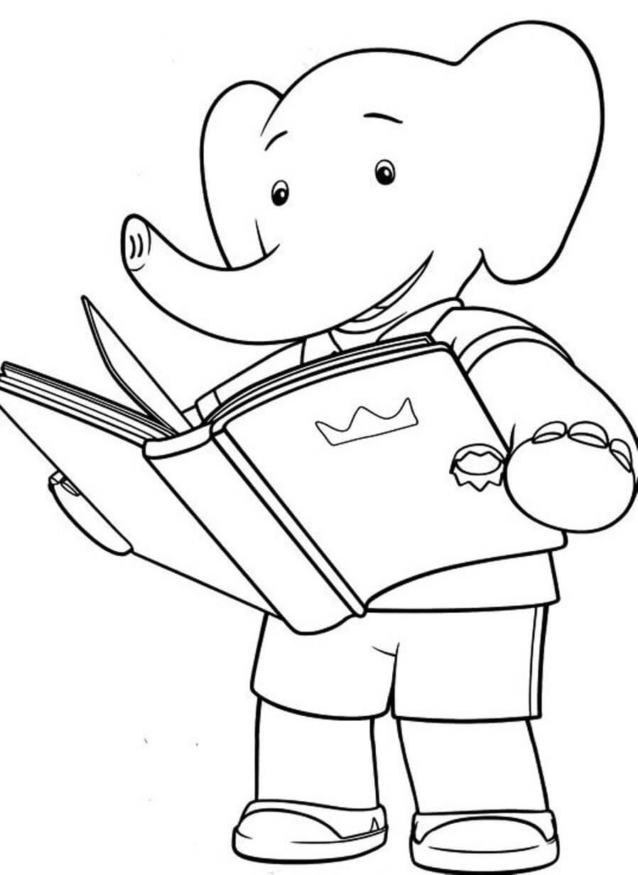 Desenhos de Leitura De Elefante para colorir