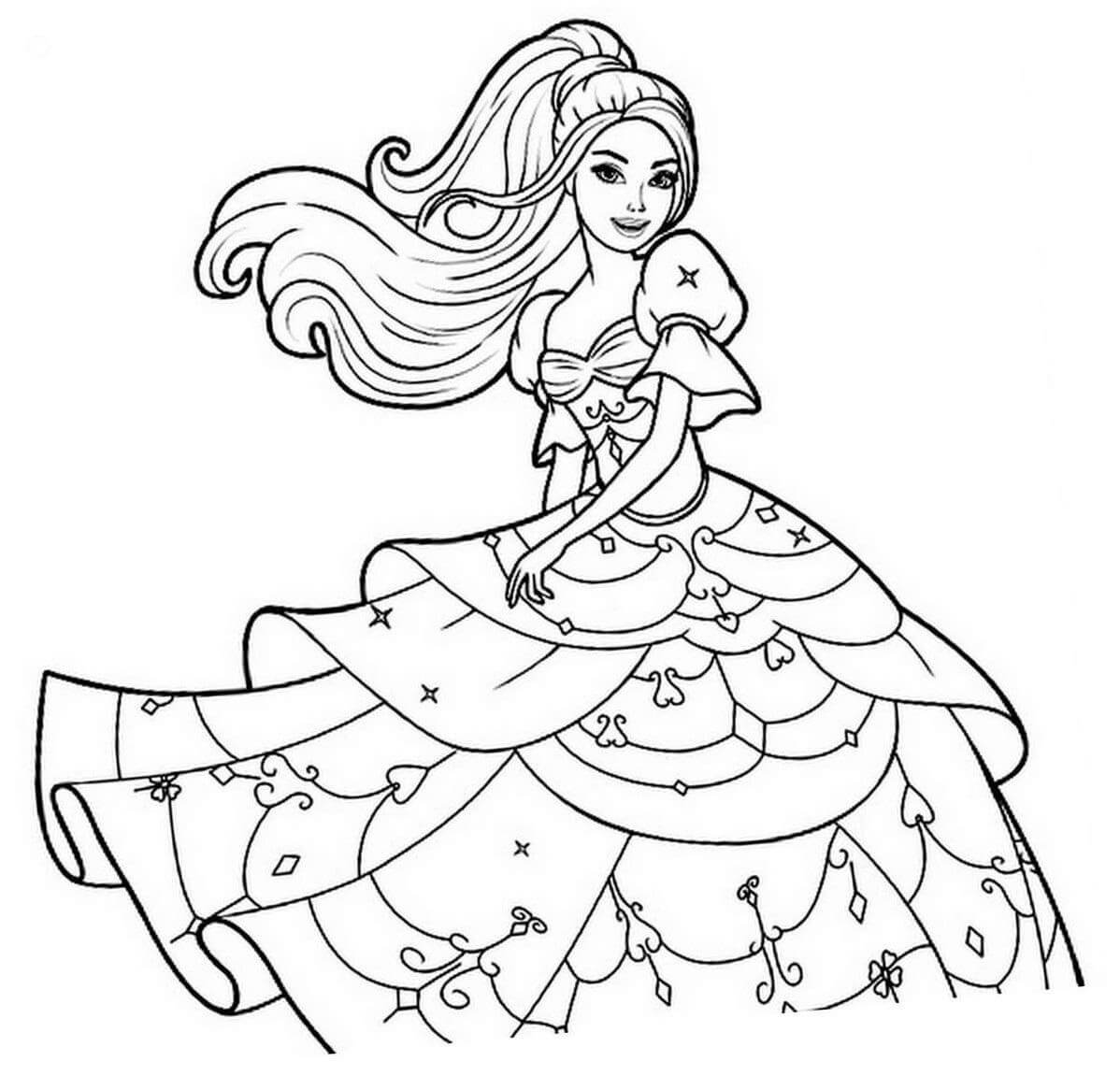 Desenhos de Linda Princesa Barbie para colorir