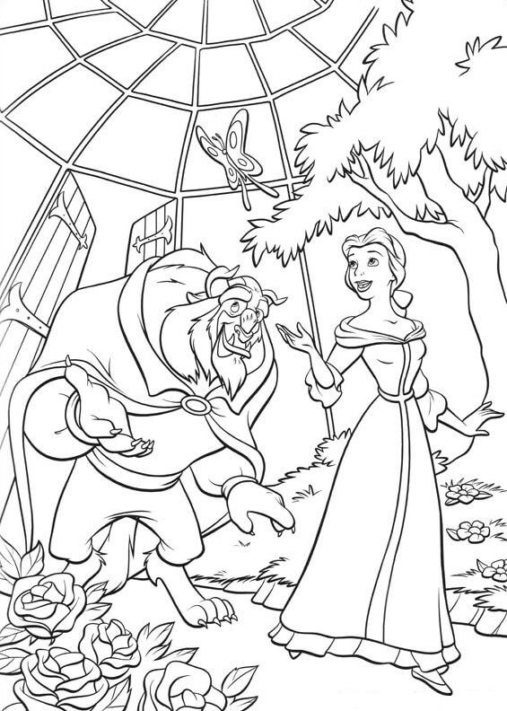 Desenhos de Monstro E Bela No Jardim para colorir