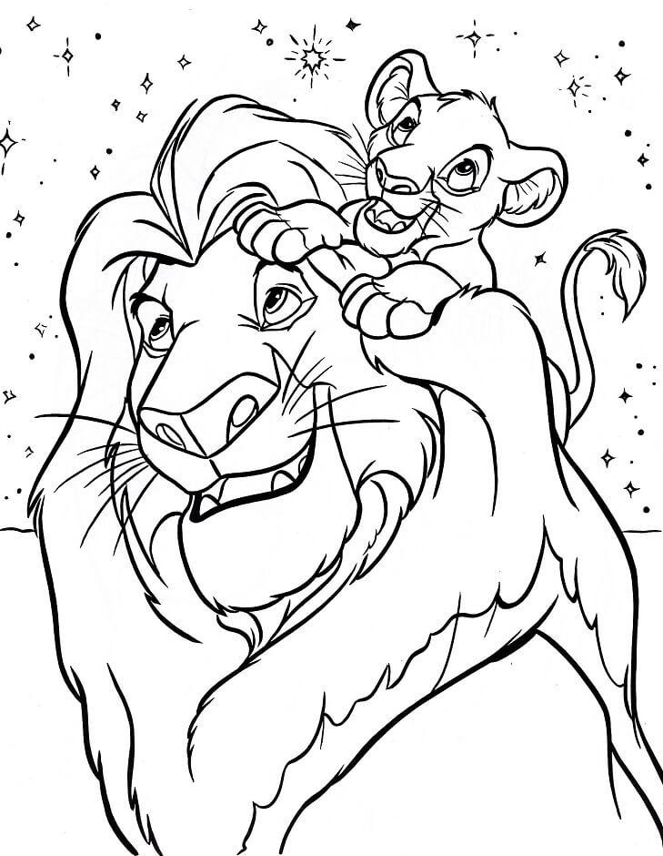 Desenhos de Mufasa E Simba para colorir