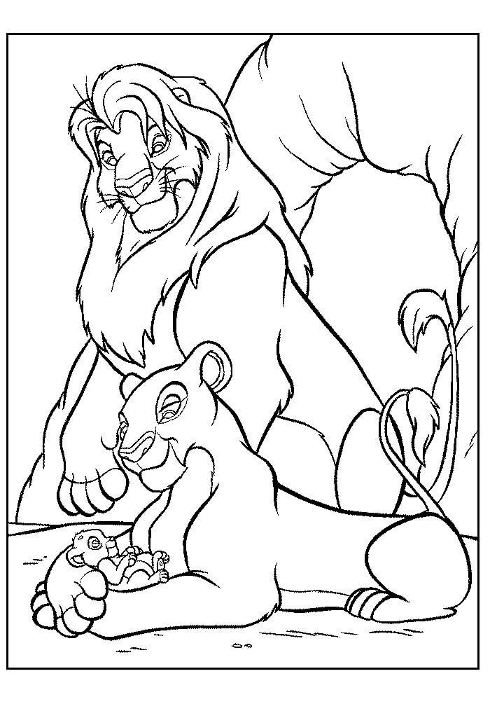 Desenhos de O Rei Leão E Sua Família para colorir