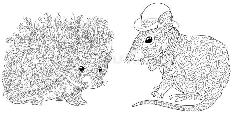 Desenhos de Ouriço E Rato para colorir