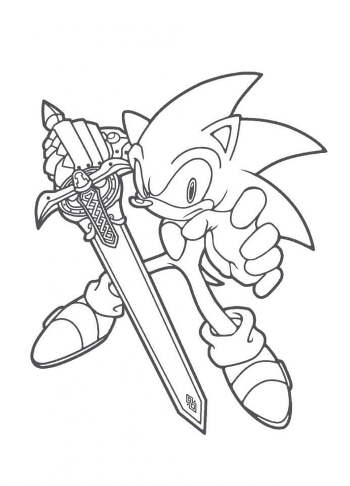 Desenhos de Ouriço Sonic E Espada para colorir