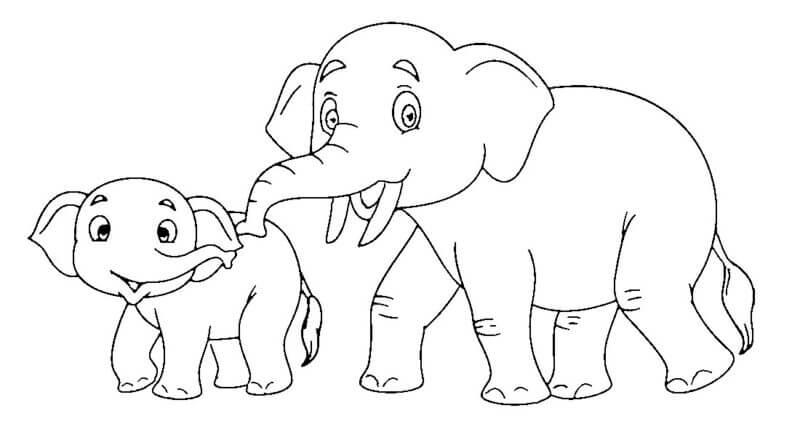 Desenhos de Pai E Filho Elefante para colorir