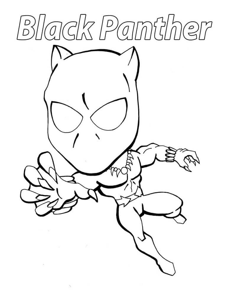 Desenhos de Pantera Negra Chibi para colorir