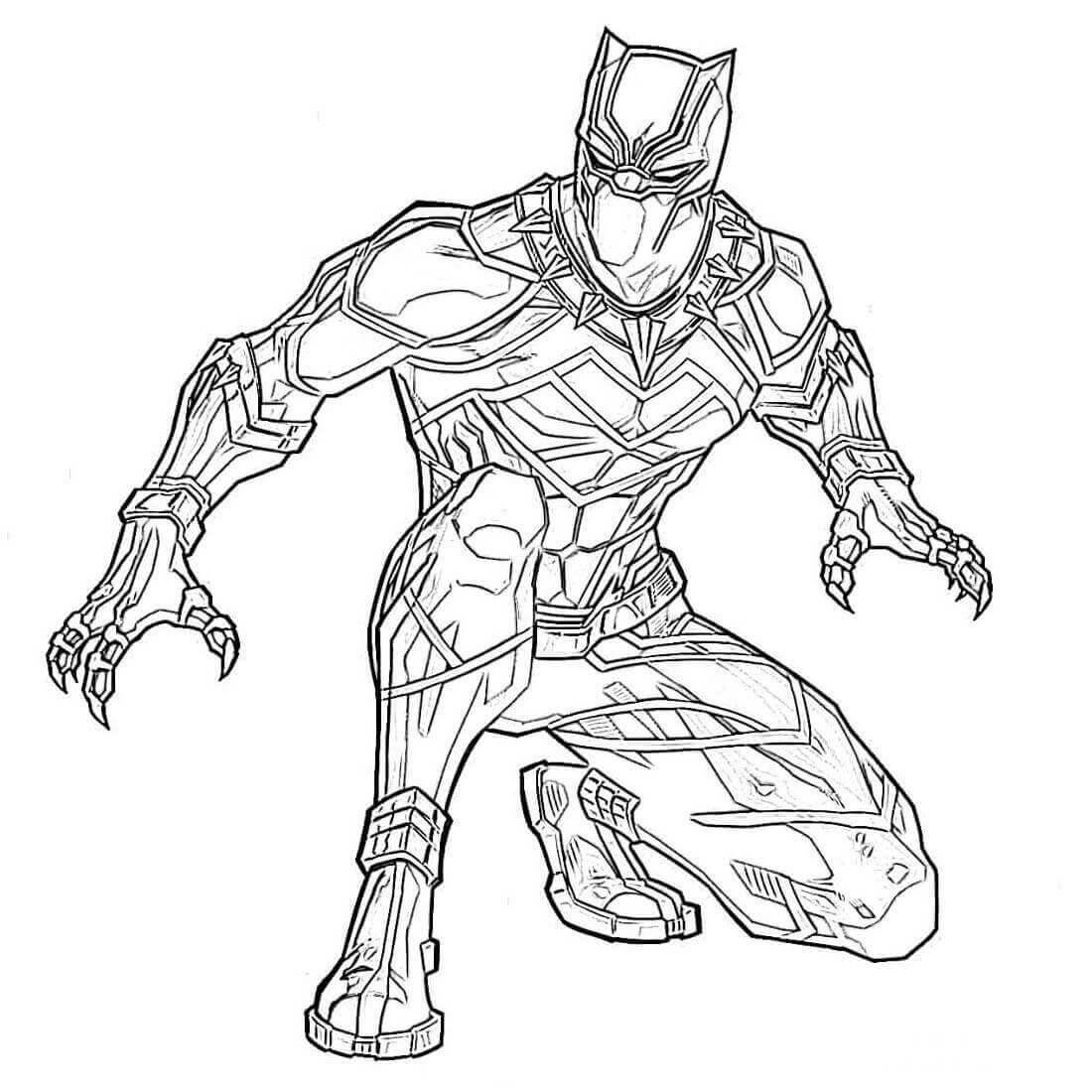 Desenhos de Pantera Negra Sentado para colorir
