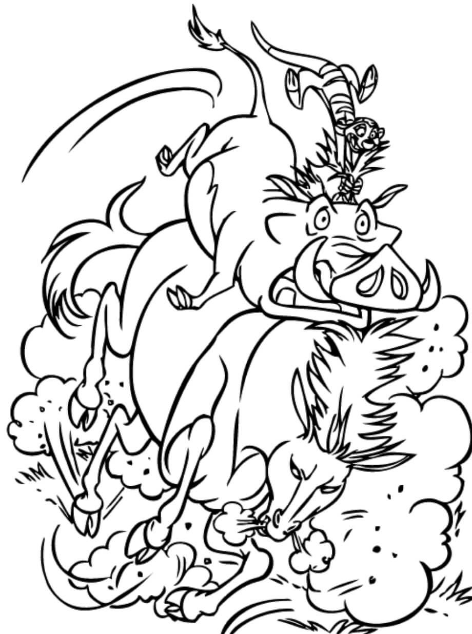 Desenhos de Passeios De Pumba E Timão para colorir