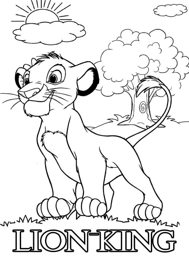 Desenhos de Pequeno Rei Leão para colorir
