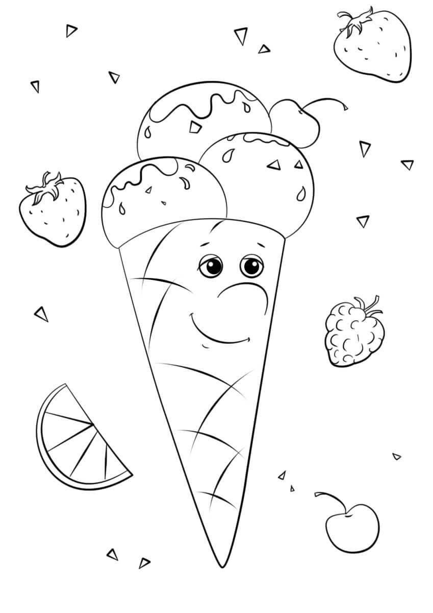 Desenhos de Personagem Fofa De Sorvete para colorir