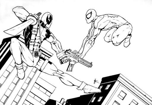 Desenhos de Piscina Morta Vs Homem Aranha para colorir
