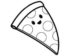 Desenhos de Pizza Fofa para colorir