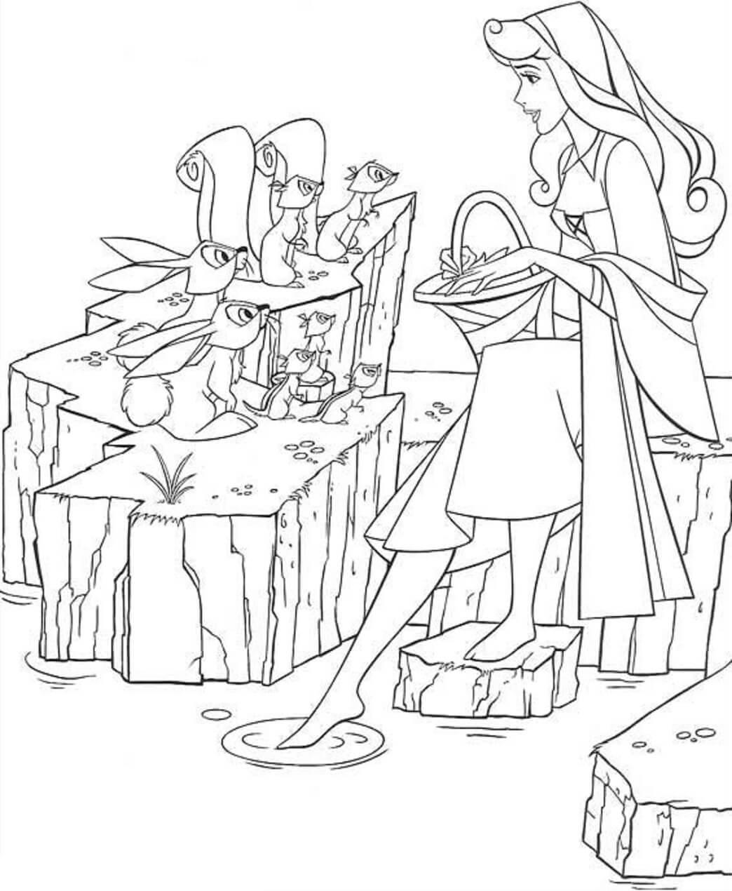 Desenhos de Princesa Aurora com Animais para colorir