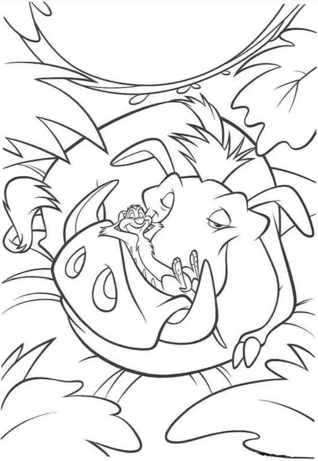 Desenhos de Pumba E Timon Estão Dormindo para colorir