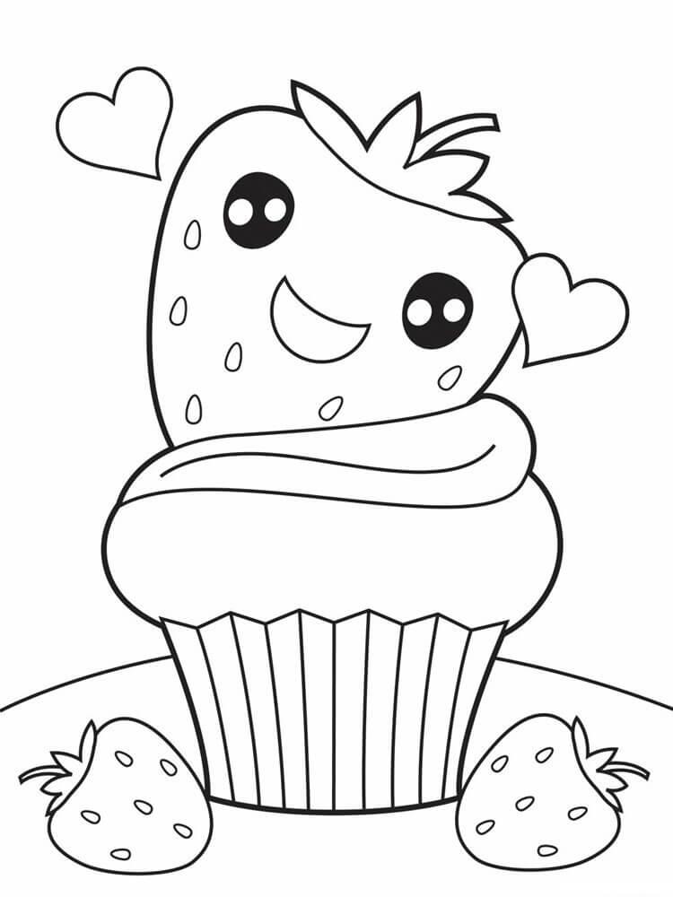 Desenhos de Queque Fofo De Morango para colorir