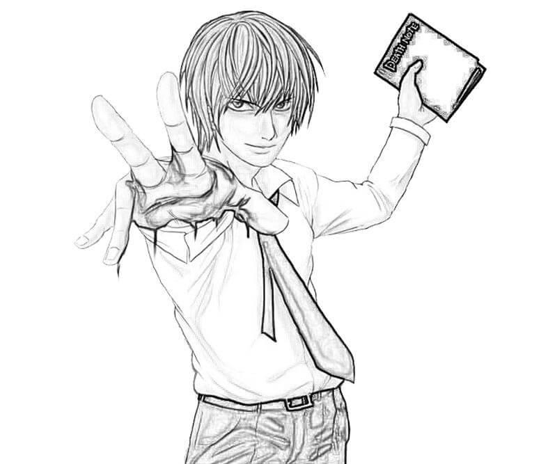 Desenhos de Rosto De Yagami Raito para colorir