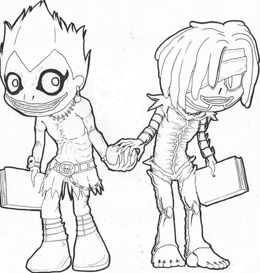 Desenhos de Ryuk E Rem para colorir