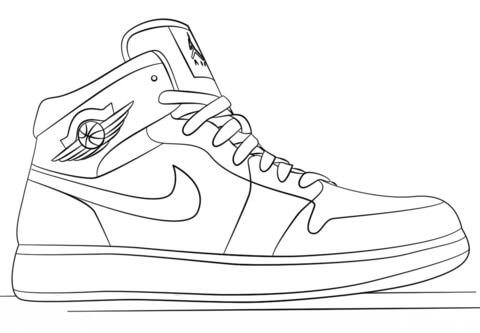 Desenhos de Sapatos Air Jordan 1 para colorir
