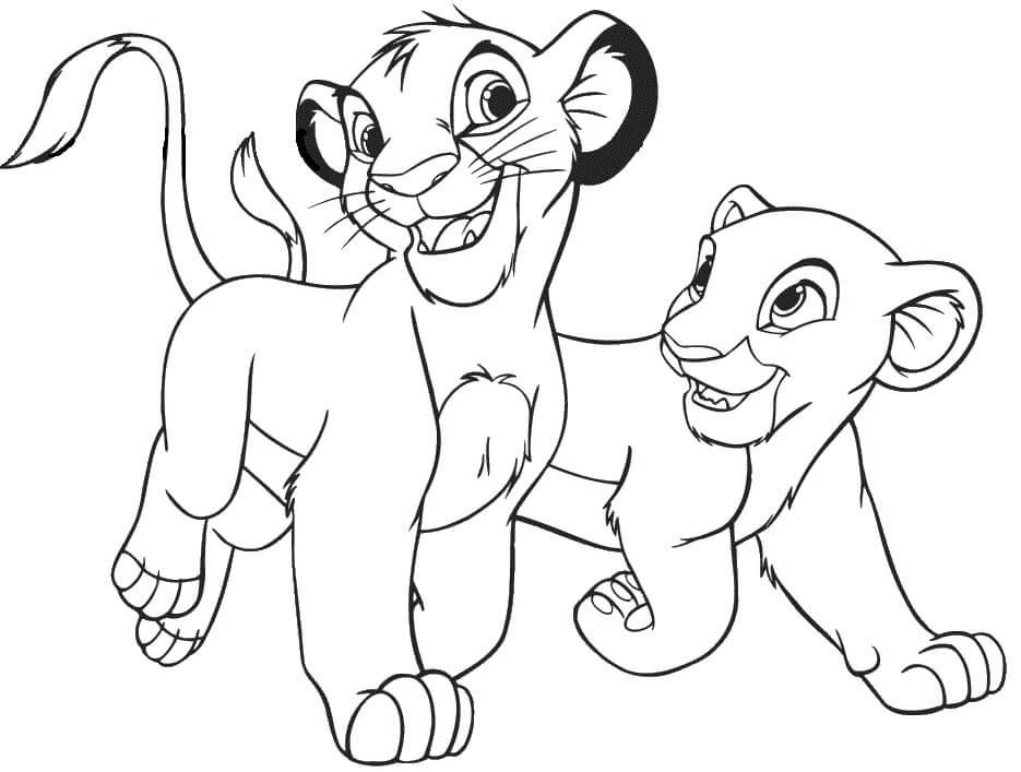 Desenhos de Simba E Kiara para colorir