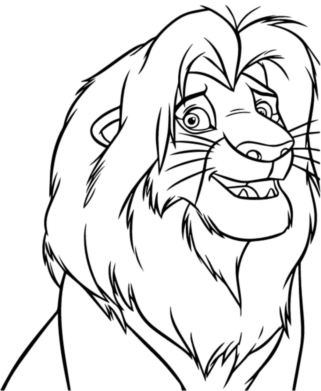 Desenhos de Simba feliz para colorir