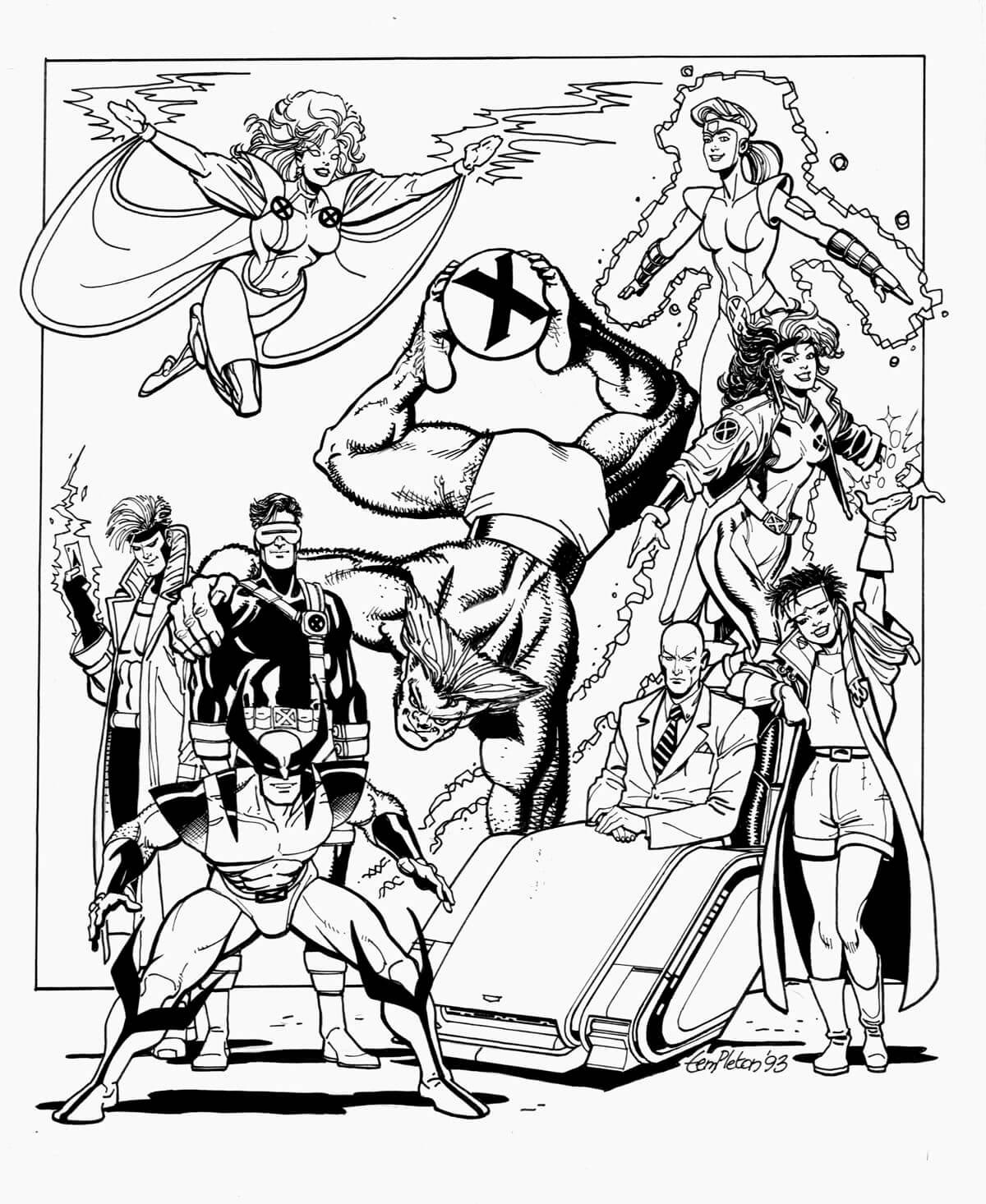 Desenhos de Super Heroi X-men para colorir