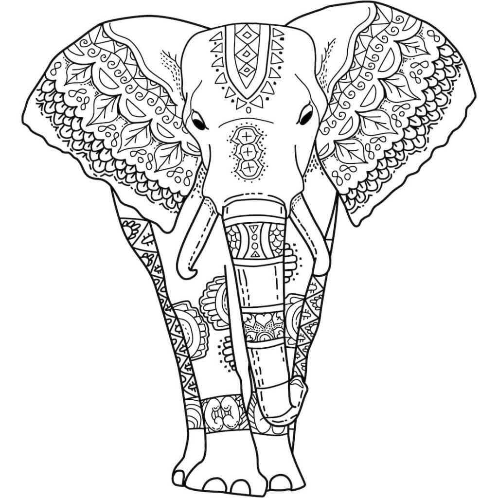 Desenhos de Tatuagem De Elefante para colorir