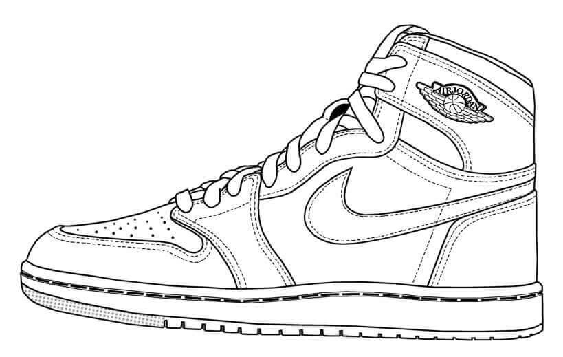 Desenhos de Tênis De Basquete Jordan para colorir