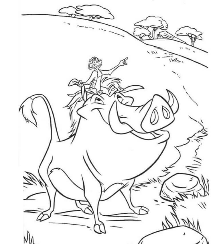 Desenhos de Timon Em Pumba para colorir