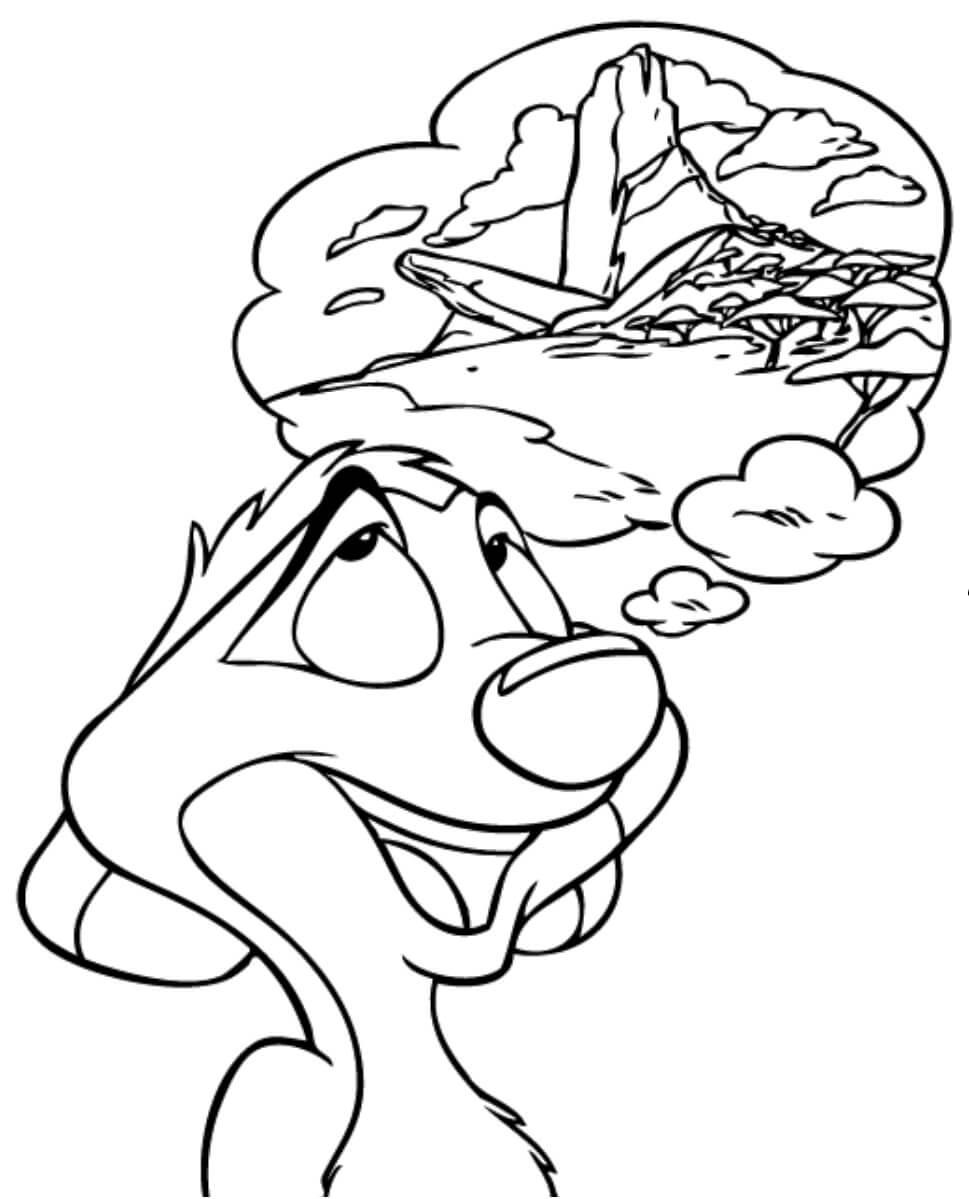 Desenhos de Timon Está sonhando para colorir