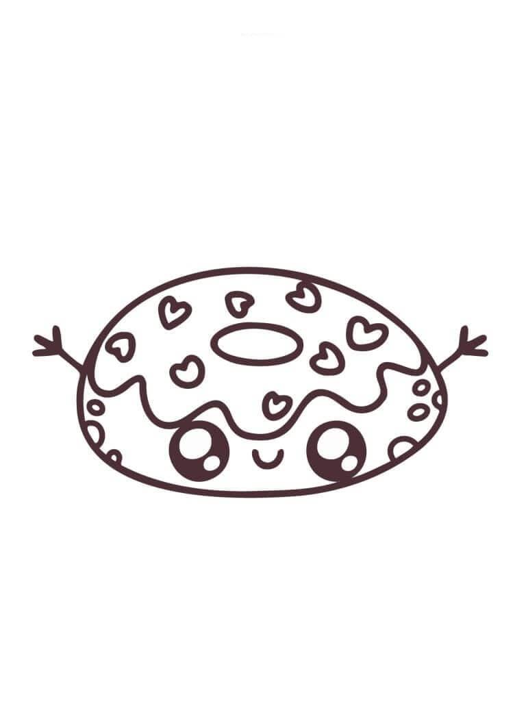 Desenhos de Um Donut Kawaii para colorir