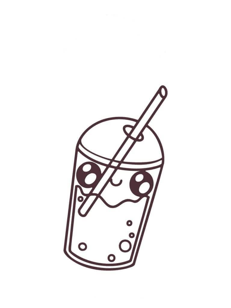 Desenhos de Uma Bebida Kawaii para colorir