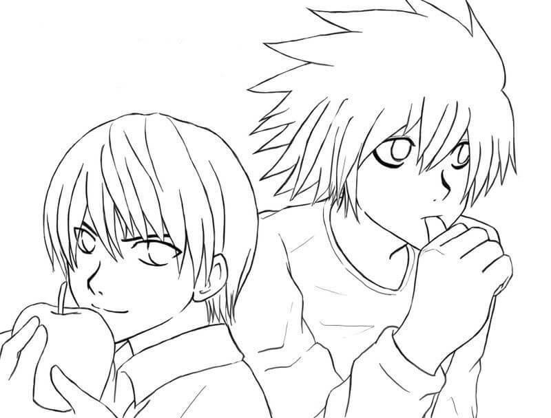 Desenhos de Yagami Raito E L para colorir