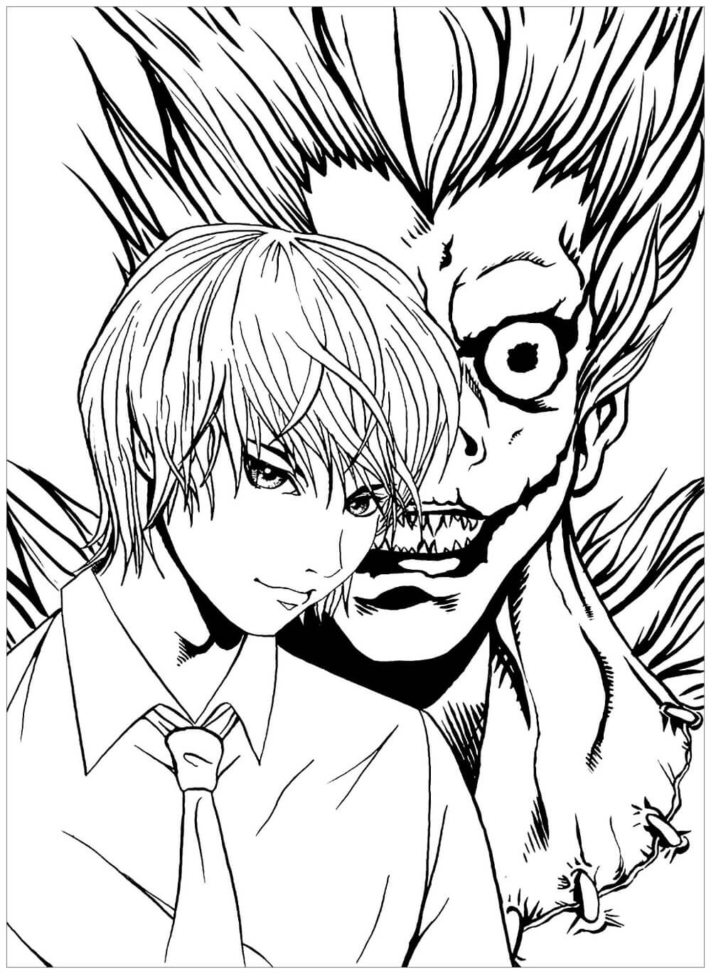 Desenhos de Yagami Raito E Ryuk para colorir