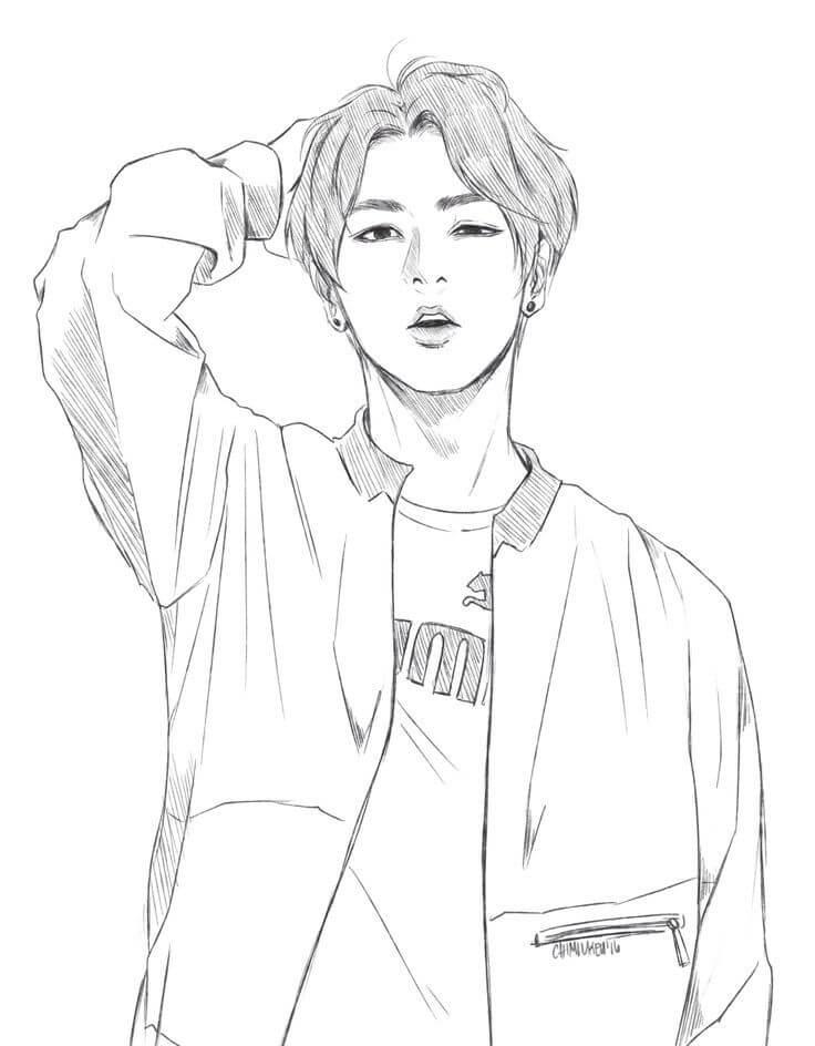 Desenhos de BTS Jungkook para colorir