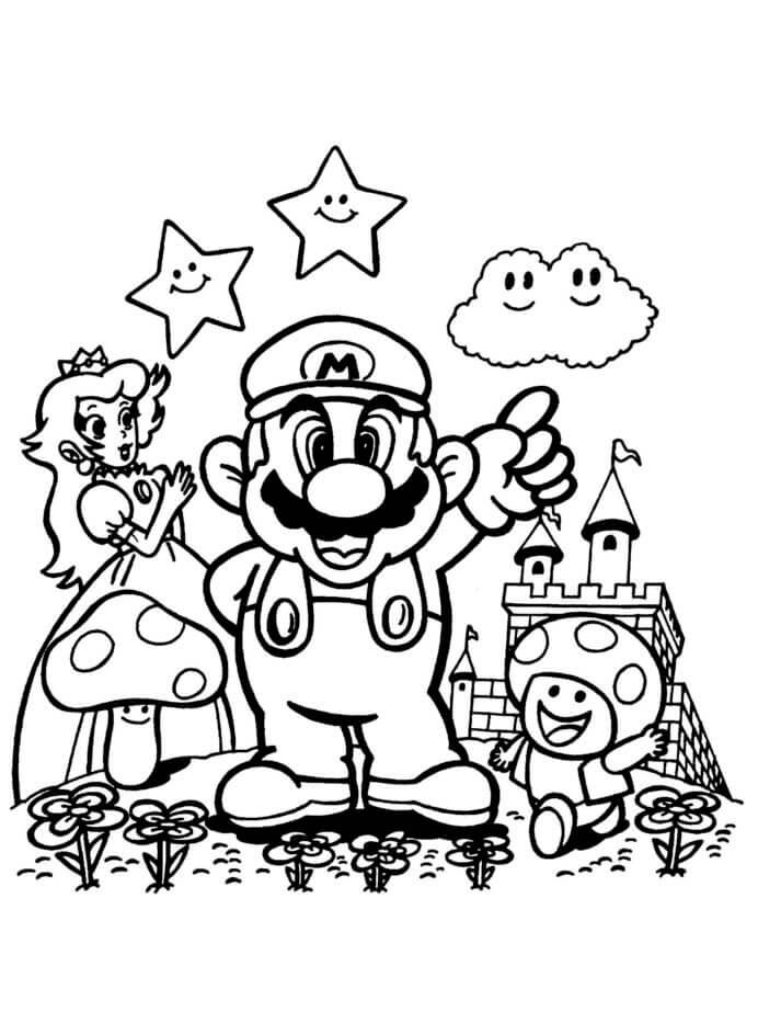 Desenhos de Mario Y Amigo para colorir