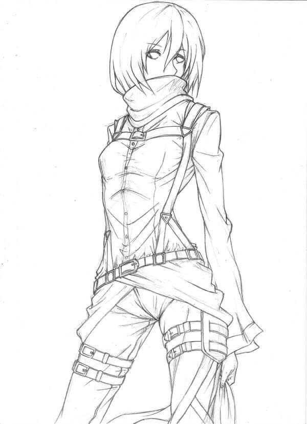 Desenhos de Mikasa Ackerman para colorir