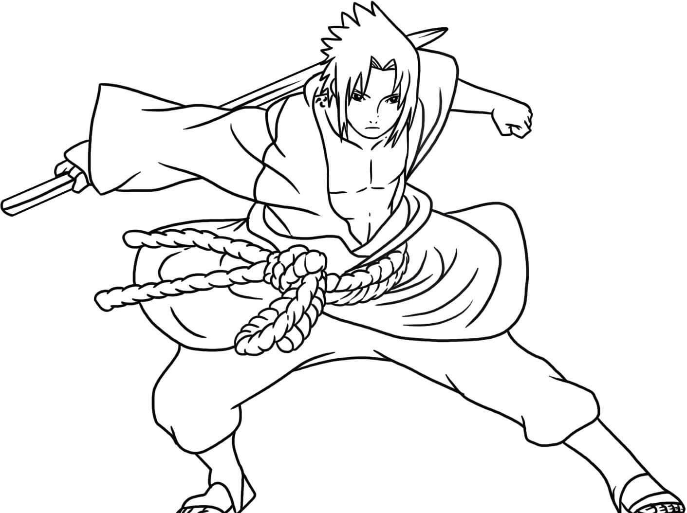 Desenhos de Uchiha Sasuke Fresco para colorir