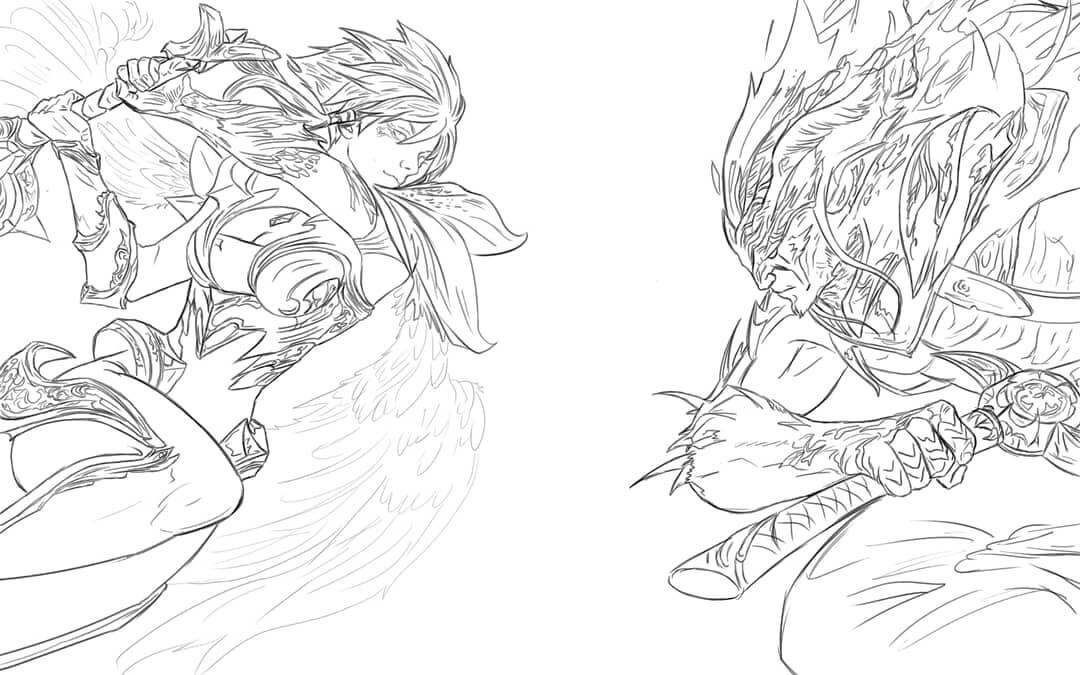 Desenhos de Yasuo Vs Riven para colorir